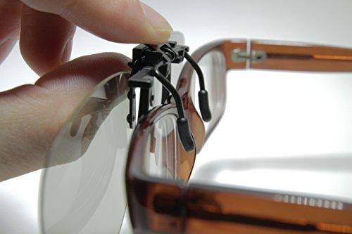 SJ3D Passive 3D Brille – Set Brillen Clip, 2x 3D Brillen Clip VERSION 1, Aufsatz für Brillenträger - Polfilterbrille zirkular polarisiert - Für RealD 3D Kino & TV: LG Cinema 3D Philips Easy 3D Telefunken Toshiba 3D Natural Vizio 3D und 3DTVs von SONY Grundig Panasonic Hisense CMX uvm. - Inkl. Mikrofaser Brillenbeutel und Putztuch