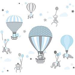 anna wand Wandsticker HOT AIR BALLOONS HELLBLAU/GRAU - Wandtattoo für Kinderzimmer/Babyzimmer mit Tieren in Heißluftballons - Wandaufkleber Schlafzimmer Mädchen & Junge, Wanddeko Baby/Kinder