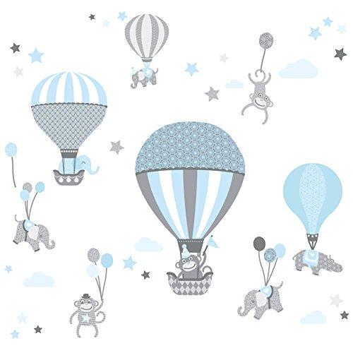 anna wand Wandsticker HOT AIR BALLOONS – Wandtattoo für Kinderzimmer / Babyzimmer mit Tieren in Heißluftballons versch. Farben – Wandaufkleber Schlafzimmer Mädchen & Junge, Wanddeko Baby / Kinder