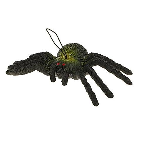 Caoutchouc Simulation Araignée Spider Jouet Animal Enfant décor Halloween Fête Surprise - Noir