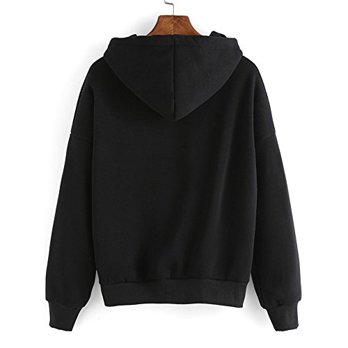 COCO clothing Basic Extraterrestre Felpe con Cappuccio Donna Pullover Hoodie Maglie Larghi T-shirt Casual Cadere College Tops Manica Lunga Sport Nero