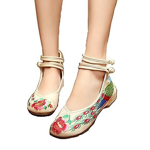 Minetom Femme Vintage Broderie Fleur Mary Jane Talon Compensé Chaussures de Conduite Loafer Ballerines Mocassins Pumps Beige EU 37