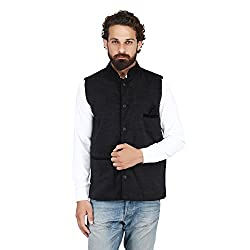 PSK Mens Cotton Blend Nehru and Modi Black Jacket Ethnic Style For Party Wear Size-40