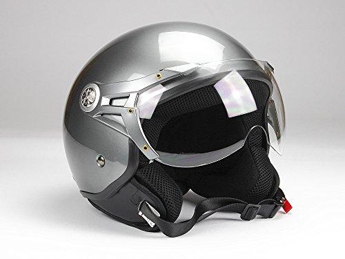 BNO Jethelm Jet100 Motorradhelm Roller Helm Schutzhelm Anthrazit glänzend (XS - XXL) (XL)