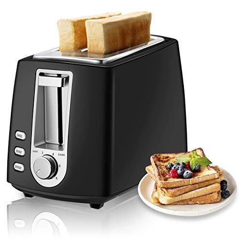 CUSIBOX Toaster, 2-Scheiben Mini Retro-Toaster 750W mit 6 Bräunungsstufen, Auftauen, Aufwärmen & Abbrechen Funktionen, BPA frei (Schwarz)