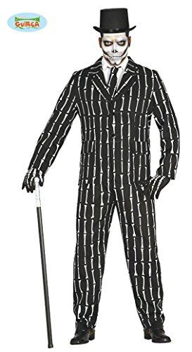 Knochen Anzug Halloween Kostüm für Herren Halloweenkostüm Herrenkostüm Sakko Hose Skelett Suit mit Krawatte Gr. M-L, ()