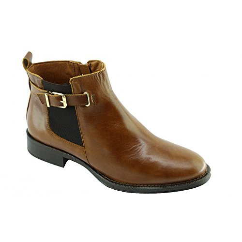 Braderie - Boots Femme Marron Chelsea - Kelly - Angelina ® C-Marron