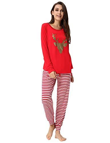 Zexxxy Damen Familien-Weihnachten: ausgestattet gestreiften Pyjama Winter-pj-Set klein rot