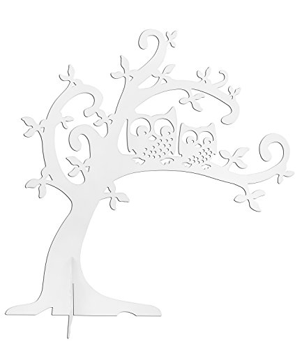 SIX Schmuckaufbewahrung weißer Schmuckbaum mit Eulen für Schmuck Vintage - Eule Im Baum Kostüm