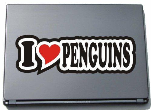 I Love Heart Decal Sticker Laptop Skin 297 mm I LOVE PENGUINS