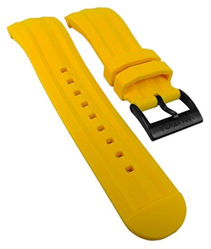 Nautica | Ersatzband Uhrenarmband Silikon Band gelb 24mm N18599G für NST 101 Ø 46mm