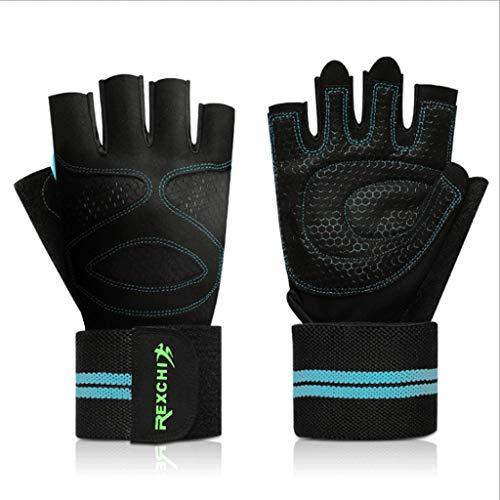 Halbe Finger-Eignungs-Handschuhe Reitsport-im Freienarmbänder mit Männern und Frauen-Gewichtheben-Dummkopf-übungs-breathable rutschfeste Schock-Absorption (Farbe : Blau, größe : L) -