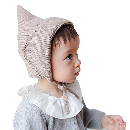 LuckyGirls warme Mütze Baby Kleinkind Junge Mädchen Caps gestrickt häkeln feste Beanie Winter Hüte (Braun)