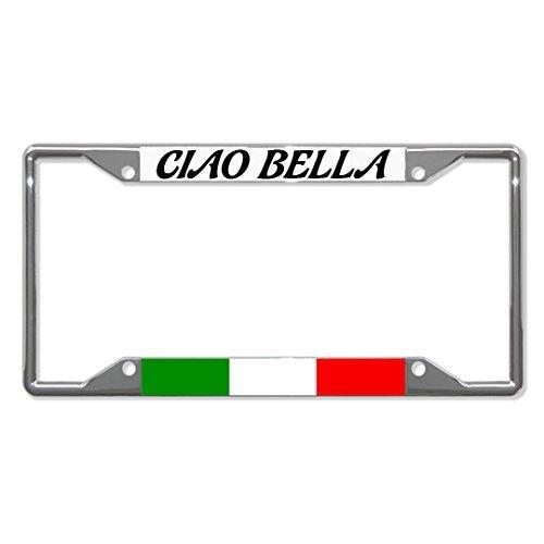 Ciao Bella Italien Flagge Chrom Metall Nummernschild Rahmen Halterung Vier Löcher von fastasticdeals