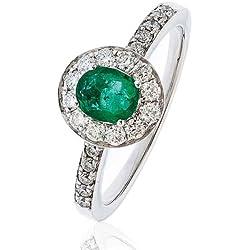 1, 05CT certificado g/VS2 forma Oval con centro de esmeralda Corte brillante Redondo anillo de diamantes con Halo de diamantes en los hombros 18 K oro blanco