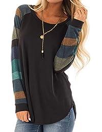 Wolfleague Tee Shirt Femme Hiver Chaud Pullover Pas Cher A La Mode Tops Rayure Col Rond Manches Longues Sweat-Shirt Beau Et éLéGant Chic Blouse Ample Simple Et Confortable T-Shirts~XL