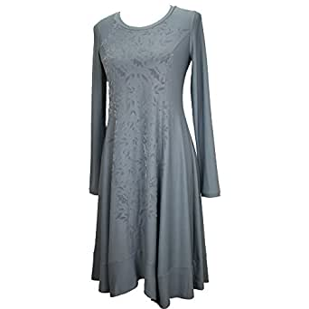 Simclan Kleid lang mit Blumen Beflockung rauchblau Gr. 44