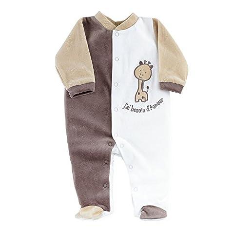 Pyjama Grenouillere Girafe - Kinousses Pyjama pour Bébé 3 Mois Choco