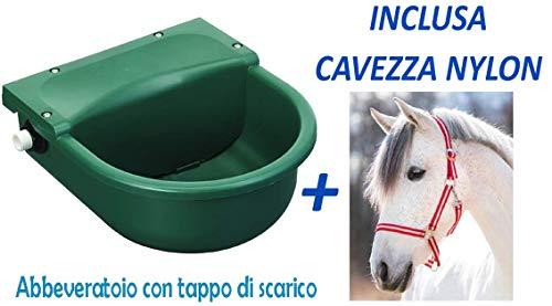 Umbria Abbeveratoio in plastica a Livello costante con Tappo per Pulizia. capacità: 3 Litri Equitazione, Cavallo, Cavalli. + Cavezza