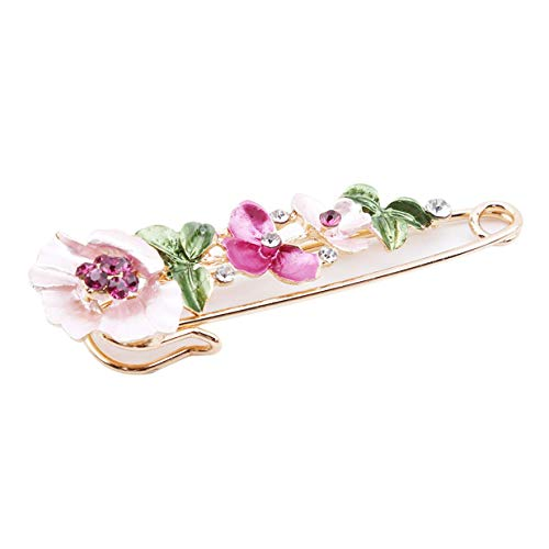 Vektenxi Hohe Qualität Frauen Vintage Broschen einer Blume mit Strass Kleidung Kragen Abzeichen Pins ZubehörDeep rosa