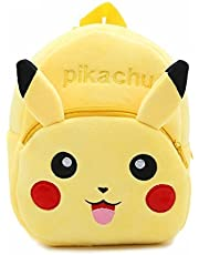 DZert Pikachu kids bags For School 10Ltr Baby/Boys/Girls Velvet Backpack (Yellow)