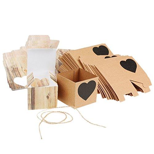 Pixnor 50pcs cuore in bianco kraft rustico bomboniere shabby chic tela vintage regalo bomboniera