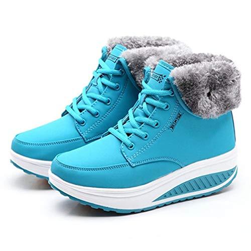 FGJOPWinterstiefel Weiblicher Keil Frauen Stiefel Ankle Boots Für Frauen Fashion WarmSchnee Stiefel Damen Wohnungen Plateauschuhe, 37 EU