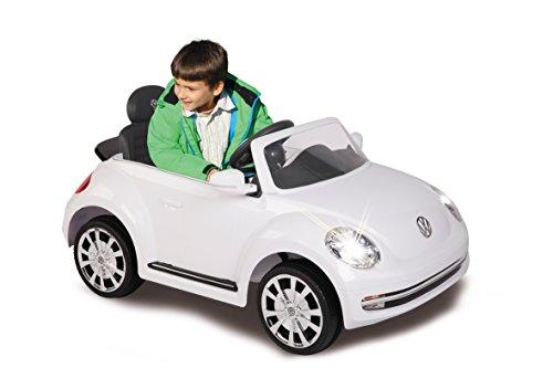 RC Kinderauto kaufen Kinderauto Bild 1: Jamara 460220 - Ride-on VW Beetle weiß 27MHz 6V - Leistungsstarker Antriebsmotor und Akku, Ultra-Gripp Gummiring am Antriebsrad, LED-Scheinwerfer, Fahrertür lässt sich öffnen, Hupe und Sound*