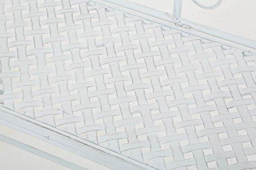 CLP Gartenbank SALIM im Landhausstil, aus lackiertem Eisen, 107 x 50 cm – aus bis zu 6 Farben wählen Antik Weiß - 6