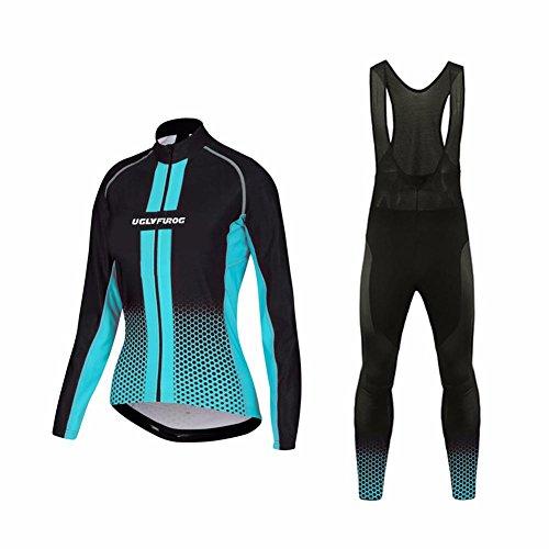 UGLYFROG #01 Damen Radsport Trikots Lange Ärmel+ Lange Hosen Anzüge Sport & Freizeit Clothes (Hardy Anzug Damen Ed)