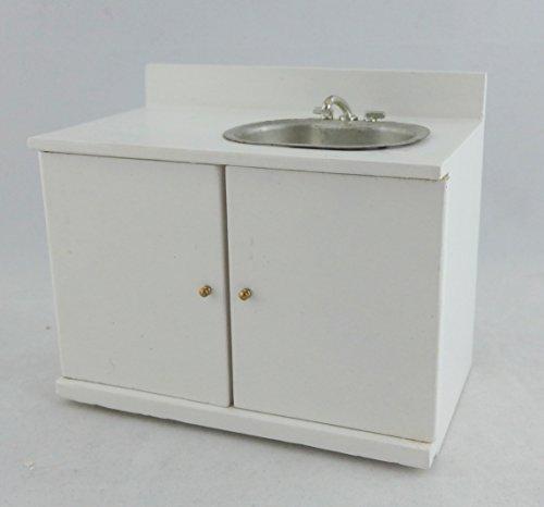 Preisvergleich Produktbild Puppenhaus Miniatur 1:12 Küche Möbel Weiß Holz Spüle & Mischbatterie