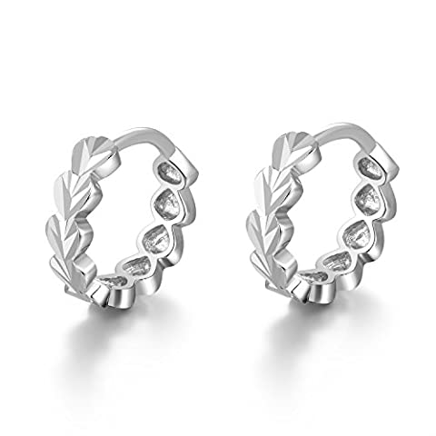 14 ct 585 White Gold Tiny Heart with Cutting Huggie Hoop Creole Earrings (8MM) Women Jewellery Anniversary Wedding Gift