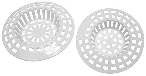 Fackelmann Abflusssieb TECNO, Ausgussfilter aus Kunststoff, Haarsieb in 2 verschiedenen Größen (Farbe: Weiß), Menge: 2 Stück