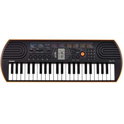 Casio sa-76 mini tastiera polifonica a 8 voci e 44 tasti, nero/arancio