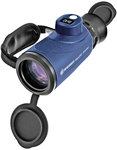 Bresser Monokular Nautic 8x42, wasserdichtes Monokular mit Kompass und voller Mehrschichtvergütung und integrierte Strichplatte zur Höhen- und Entfernungsbestimmung inklusive Tasche