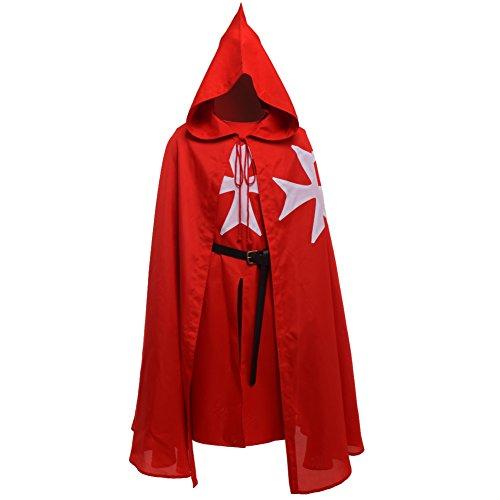 BLESSUME Mittelalterlich Templer Ritter Tunika Mantel Gürtel Cosplay Kostüm einstellen (Red)