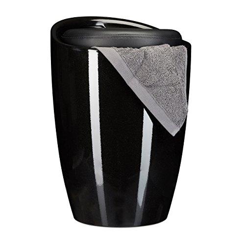 Relaxdays 10022886_46 sgabello da bagno tinta unita tondo in plastica, cuscino rimovibile capienza 28 l portabiancheria con manico nero