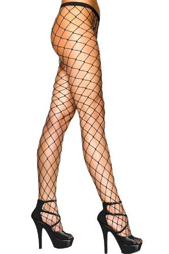Playboy Piraten Kostüm - Netzstrumpfhose Netz Strumpfhose grobe Maschen Schwarz Strumpf Hose Kostüm Fasching, Schwarz, S-L