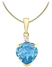 Naava Women's Diamond and 3.75 ct Round Blue Topaz Gemstone Pendant with 9 ct White Gold Chain Necklace of 46 cm Or5ERf32