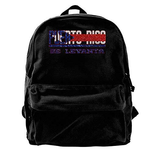 Canvas Backpack Puerto Rico Se Levanta Pray for Puerto Rico Rucksack Gym Hiking Laptop Shoulder Bag Daypack for Men Women -