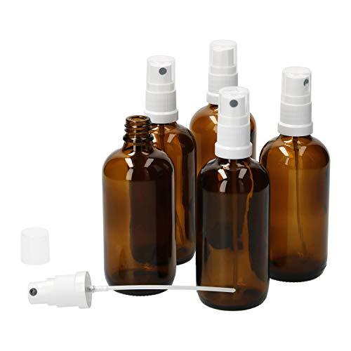 MamboCat 5tlg.-Set Miniaturflaschen mit Sprühkopf I Braunglas 100 ml I Sprayer I Zerstäuber I Apothekerfläschen I UV-geschützte Medikamenten-Aufbewahrung