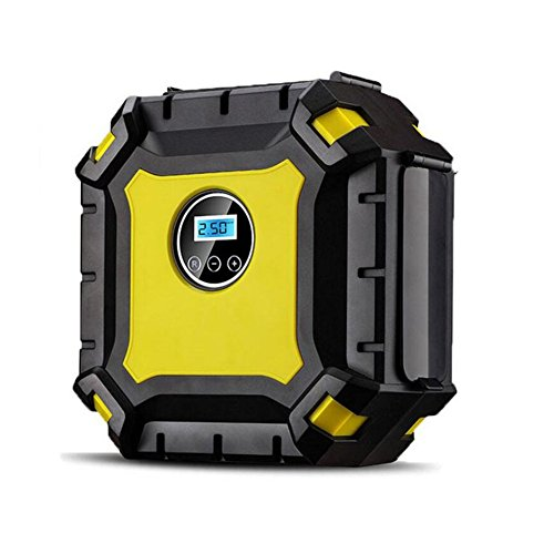 Digital Auto Luftpumpe, HomeYoo 12V Kompressor Reifenpumpe Auto Luftpumpe tragebar mit LED Notlicht, Luftkompressor 100 PSI 3.3M Kabel 3-Ventil-Adapte, Für Auto Matratze Motorrad Fahrrad Basketball (Gelb)