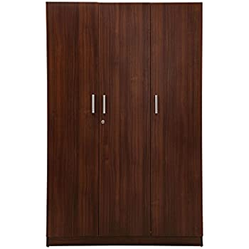 Nilkamal Reegan 3 Door Wardrobe with Mirror Brown Amazon