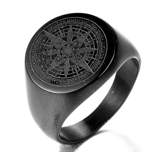ahl Hexagramm Davidstern Runde jüdischen Ringe Schwarz/Silber/Gold ()