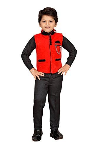 AJ Dezines kids party wear waistcoat suit set for boys (643_RED_1)