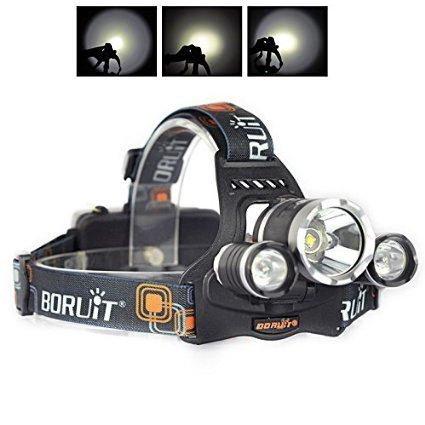 Boruit Led stirnlampe kopflampe 6000 Lumen XM-L2 T6 LED-Scheinwerfer kopflampe Stirnlampe led Scheinwerfer-Kopf-Lampen-Taschenlampe für Outdoor Sports Camping Wandern Angeln(Britische Ladegerät Technische Daten) (Trek-kabel)