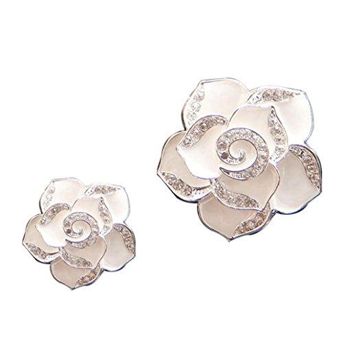 Livecity® 2Strass Blumen Form Auto-Lufterfrischer Aromatherapie Diffusor Vent Clip, weiß, Mini