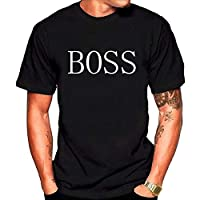 Tshirt 2019 Spring Round Neck Summer Printing Short Sleeve T-Shirt BOSS Printed Round Neck Loose Short-sleeved Men's T-shirt White T Shirts Men (Color : Black, Size : L)