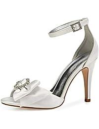 Zxstz Zapatos de Mujer Arco Satinado Primavera Verano Boda Zapatos de  Vestir de Corte de Fiesta de tacón… 535ce8c0bbc5