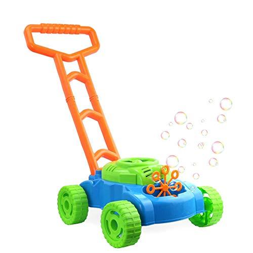 Cortadora de burbujas electrónica máquina de burbujas y música juego al aire libre empuje niños juguete cortacésped de burbujas para niños (sin incluir líquido de burbujas)